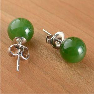 Green Jade Sterling Silver Stud Earrings jewelry